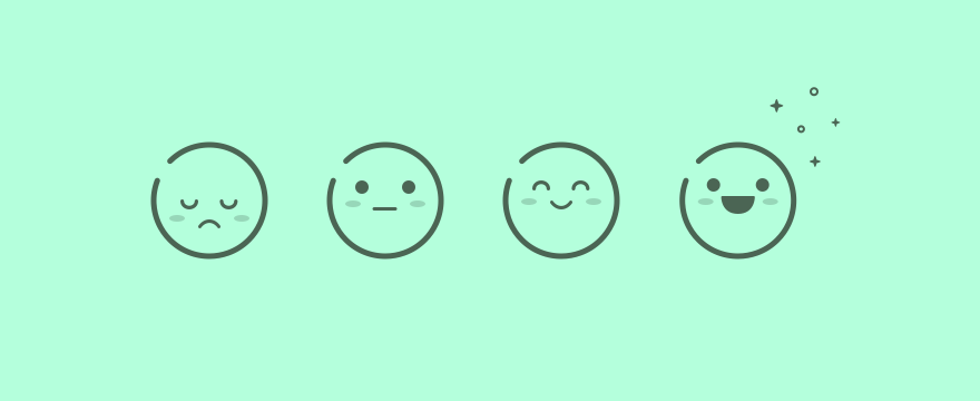 The emoji of differing customer satisfaction.